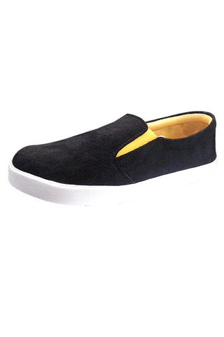 Suede Slip On Shoes- Black