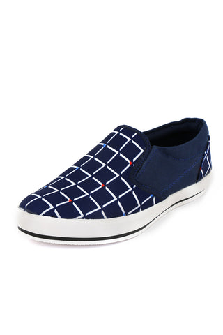 Navy Box Printed Canvas Shoes
