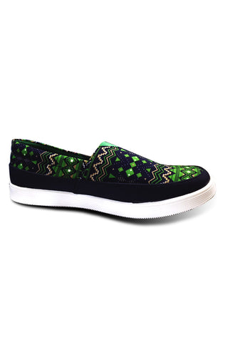 Green Aztec Slip on Shoe