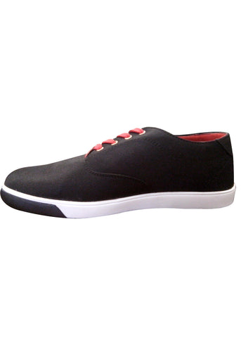 Black Canvas Shoes With Red Lace
