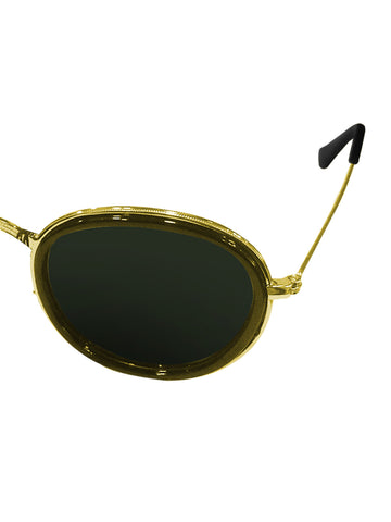 Gold Rim Round Sunglasses
