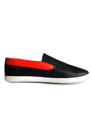 Black with Red Slip on Shoe