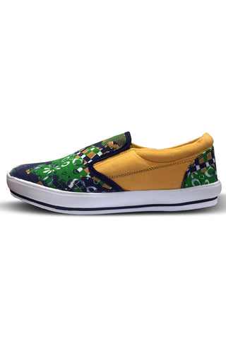 Yellow Green Printed Casual  Shoes