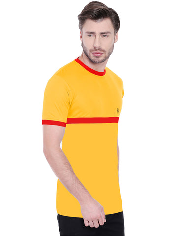 ACTIVE DRY STRIPE PATTERN TSHIRT - YELLOW