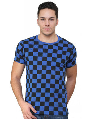 BLUE CHECKS ALL OVER T-SHIRT