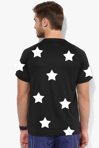 Star Print Tshirt - Black