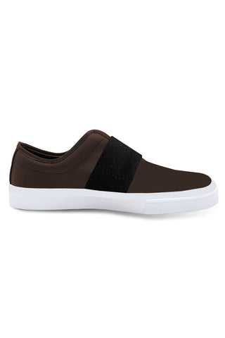Brown/Black Band Leather Slip on Shoe