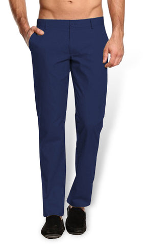 Navy Cotton Trousers - Smart Fit