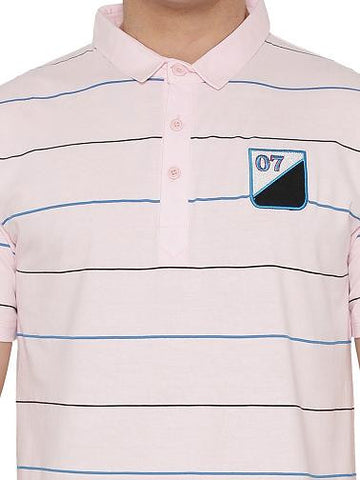 Casual Stripes Polo T-shirt Pink