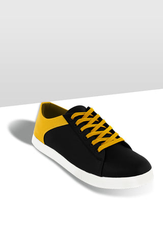 Black / Yellow Leather Lace Shoe
