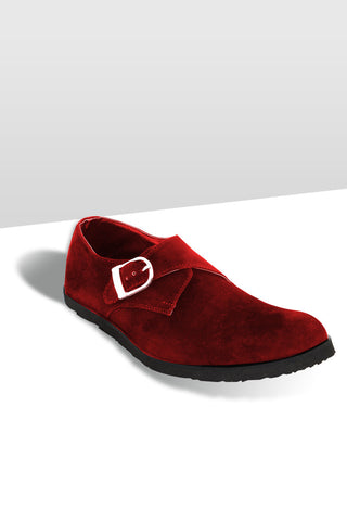 Monk Strap Suede Shoes- Red