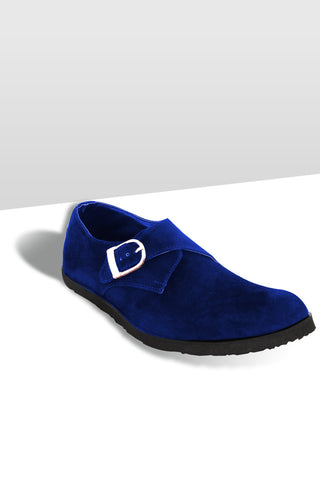 Monk Strap Suede Shoes- Blue