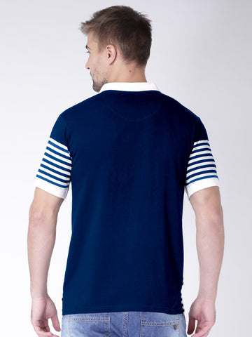 Striped Polo Tshirt with contrast collar - Navy