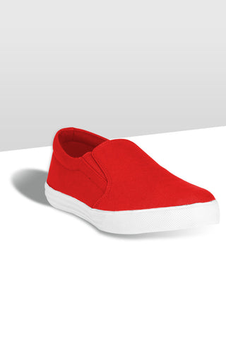 Red Slip on Canvas Shoes
