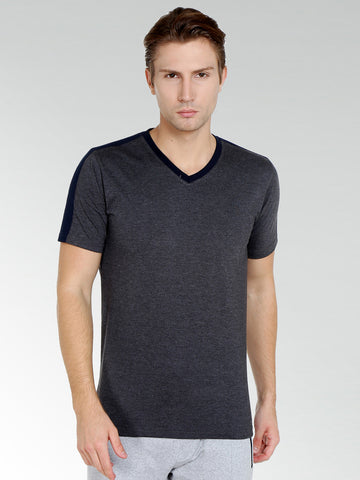 Dark Grey V Neck Tshirt With Shoulder Stripe
