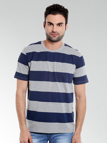 GREY BROAD STRIPE RN TSHIRT