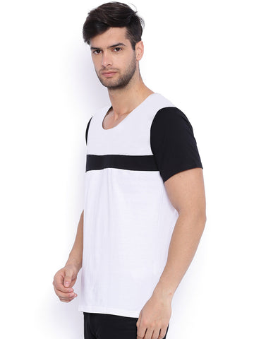 CONTRAST PANEL TSHIRT - WHITE
