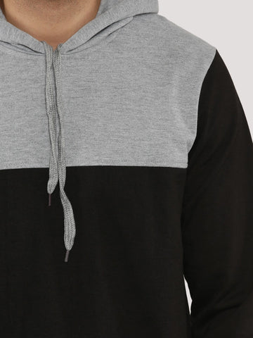 COLOR BLOCK HOODIE - GREY BLACK