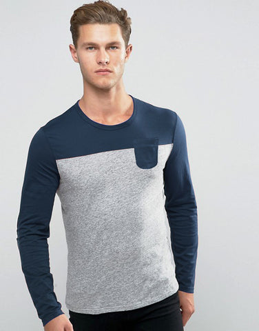 Dual Color T-Shirt - Navy Grey
