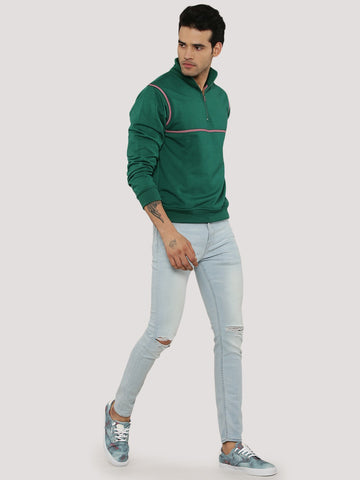 HALF ZIP SWEATSHIRT WITH HEM