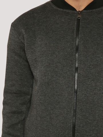 Grey Melange Bomber Jacket with contrast collar & Cuff