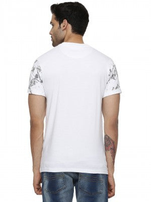 Blotch Falling Leaves Printed Tshirt