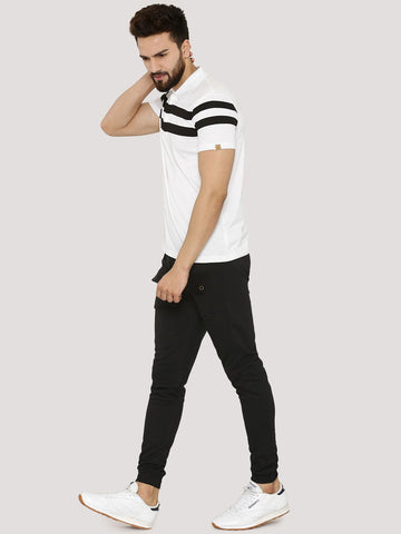 Chest Stripe Polo Tshirt - White