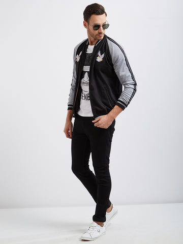 GREY BLACK CONTRAST BOMBER JACKET