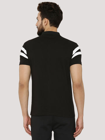 Chest Stripe Polo Tshirt - Black