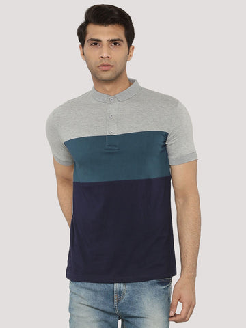 Color Block Polo T-Shirt - Navy/White