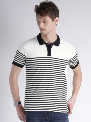 Striped Polo Tshirt with contrast collar - White