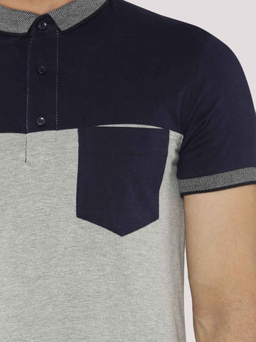 Color Block Polo T-Shirt  - Navy / White