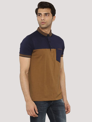 Color Block Polo T-Shirt  - Navy / Brown