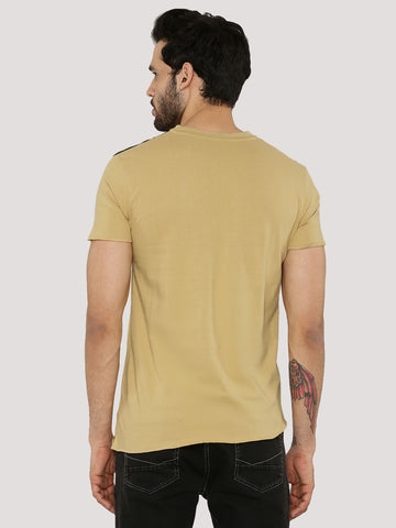 shoulder panel V-neck Tshirt