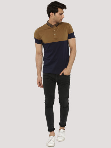 Color Block Polo T-Shirt  - Brown / Navy