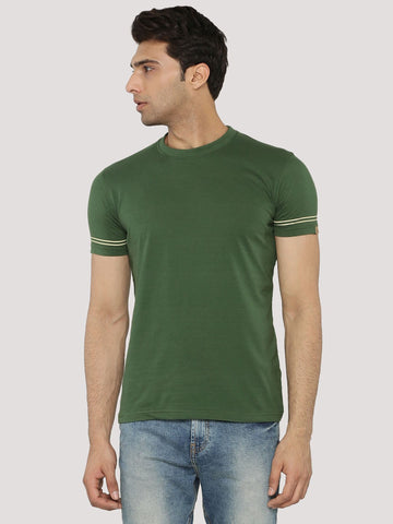 PRINTED TSHIRT WITH STRIPPED SLEEVE - OLIVE
