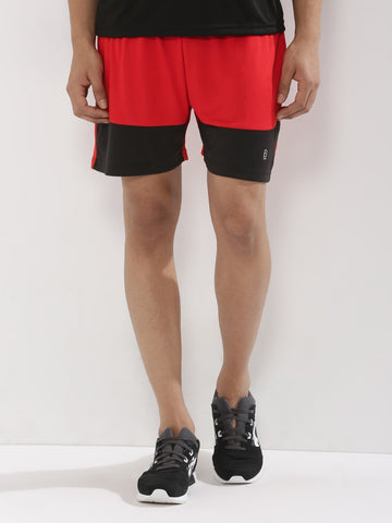 ACTIVE DRY CONTRAST CUT AND SEW SHORT - RED/BLACK