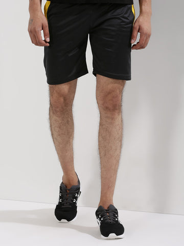 Active Shorts With Contrast Panel - Black / Yellow