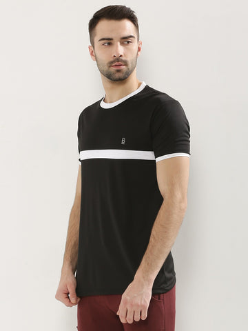 BLACK WITH WHITE STRIPE TSHIRT