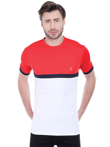 ACTIVE DRY RED WHITE PANEL TSHIRT