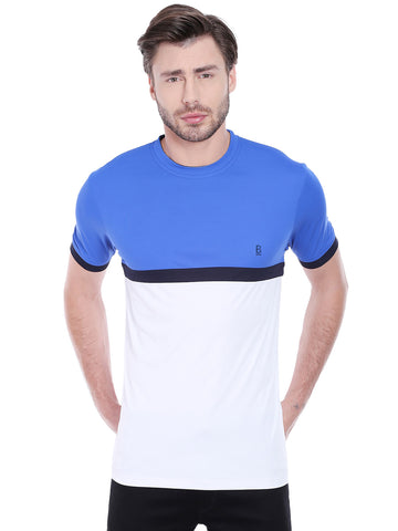 ACTIVE DRY BLUE WHITE PANEL TSHIRT