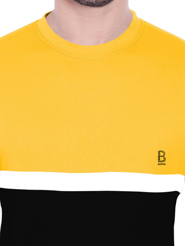 ACTIVE DRY YELLOW BLACK PANEL TSHIRT