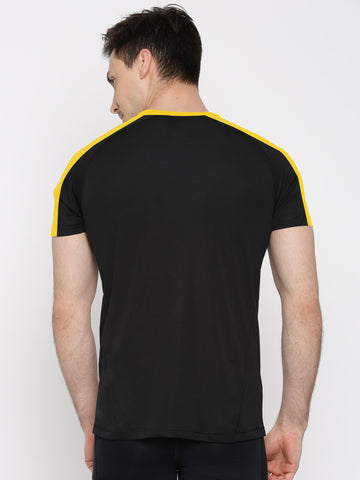 ACTIVE DRY SHOULDER STRIPE TSHIRT - BLACK