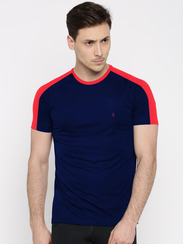 ACTIVE DRY SHOULDER STRIPE TSHIRT - BLUE