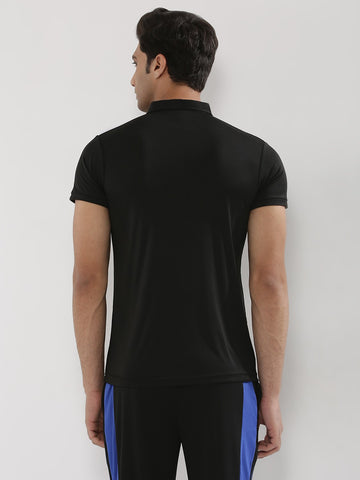 ACTIVE DRY SHOULDER PATCH TSHIRT - BLACK