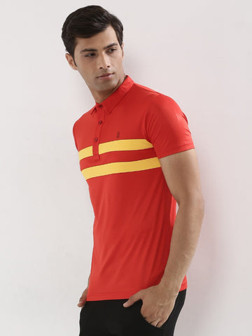 ACTIVE DRY SLIM COLLAR POLO WITH PANEL STRIPES - RED