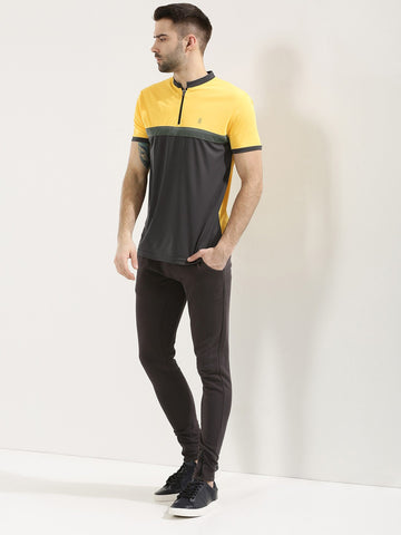 Active Dry Contrast Panel Polo - Yellow / Grey