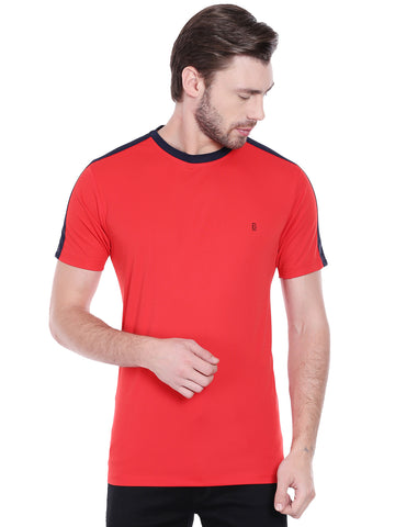 ACTIVE DRY SHOULDER STRIPE TSHIRT - RED