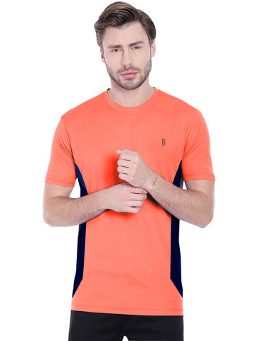 ACTIVE DRY VERTICAL STRIPE TSHIRT- ORANGE