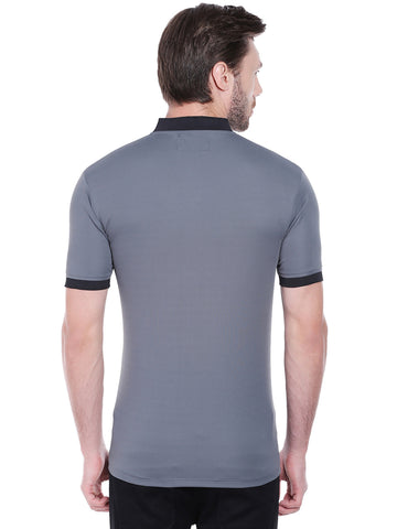 ACTIVE DRY BASEBALL COLLAR TSHIRT - GREY